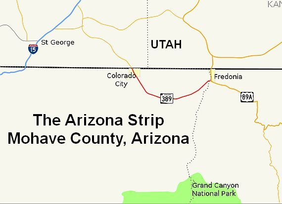 Map Of Arizona Utah Border.Arizona Strip And The North Rim Of The Grand Canyon